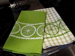 green kitchen towels